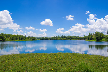 River with blue sky and cloud.
