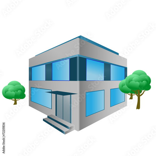 vector office building with trees - 72201836