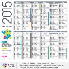 Calendrier 2015 avec académies et vacances scolaires