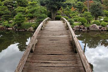 wooden footbridge in japanese garden