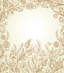Hand drawn background with flowers