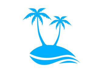 Blue island with palm trees on white background