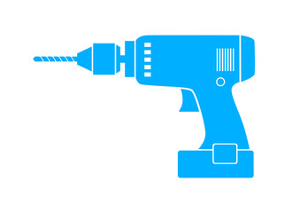 Blue drill icon on white background