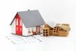 Hausbau mit Plan und Ziegelsteinen
