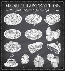 Vector Grunge Chalkboard Food Illustrations