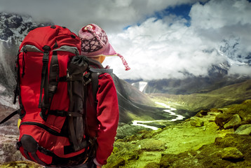 Hiking in Himalaya mountains.