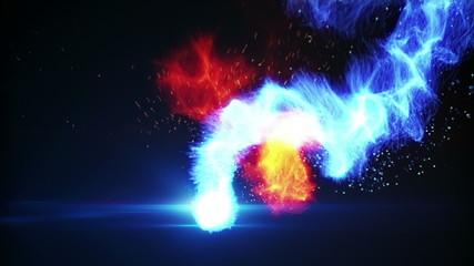 blue and yellow fireballs loop