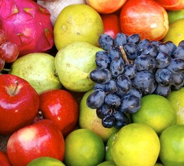 The photograph with variety of fruits at market