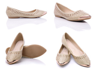 Urban comfortable flat shoes for women on a white background