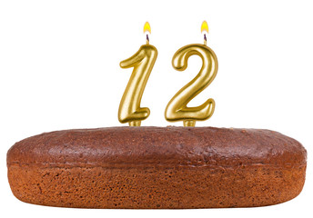 birthday cake with candles number 12 isolated