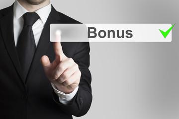 businessman pushing flat button bonus checked