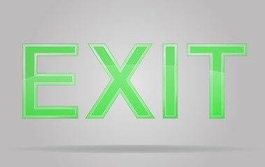 transparent sign exit vector illustration