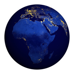 Planet earth at night. Africa, part of Europe and Asia.