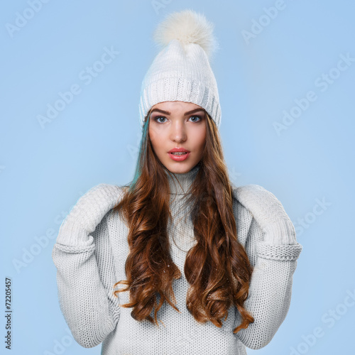canvas print picture Beautiful girl in white sweater