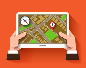 Mobile gps navigation, flat design concept