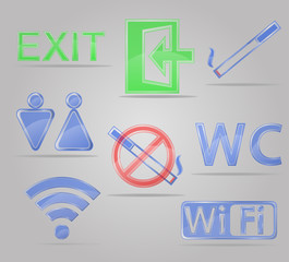 set icons transparent signs for public places vector illustratio