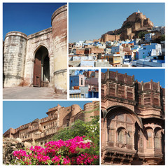 Collage of famous indian Blue City Jodhpur, Rajasthan,unesco
