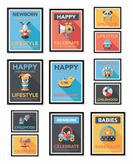 Baby poster flat banner design flat background set, eps10