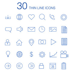 30 thin line icons