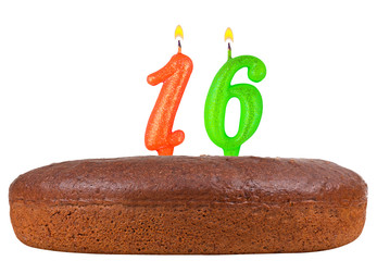 birthday cake with candles number 16 isolated