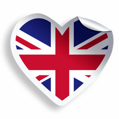 Heart sticker with flag of United Kingdom isolated