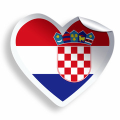 Heart sticker with flag of Croatia isolated on white