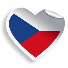 Heart sticker with flag of Czech Republic isolated