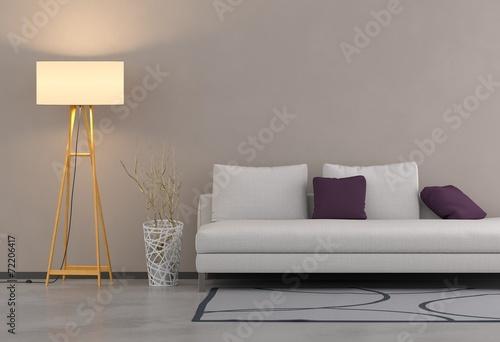 canvas print picture Wohntrend - Sofa und Stehleuchte