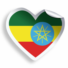 Heart sticker with flag of Ethiopia isolated on white