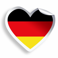 Heart sticker with flag of Germany  isolated on white