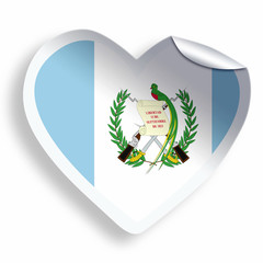 Heart sticker with flag of Guatemala isolated on white