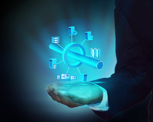 Enterprise Application Integration in business man hand
