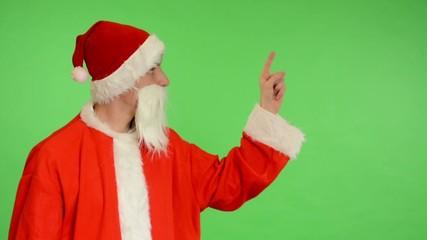 santa claus - green screen - studio - Santa Claus shows the time