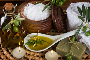 hygiene items for bath and spa of olive