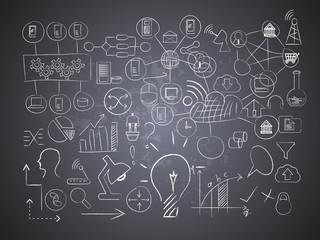 Information technology drawings on black board