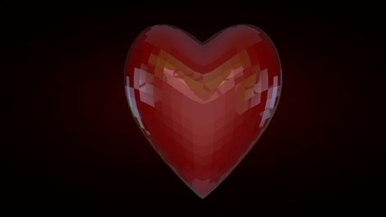 love concept with beating hearts and 3d rendering