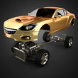 Постер, плакат: Car chassis with engine of luxury brandless sportcar