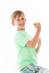 model isolated on plain background victory confident