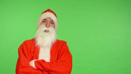 santa claus - green screen - studio - santa claus laughs