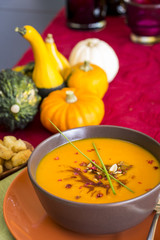 Bowl of delicious pumpkin soup