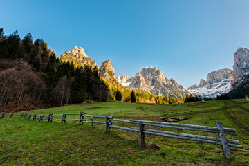 Fence in the meadows in the mountains, Dolomites