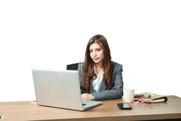 Young business woman attractive with laptop on table