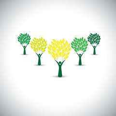 happy, joyous people as trees of life - eco concept vector