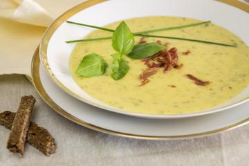 Stylish bowl of ham and potato soup