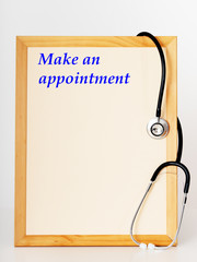 Shield with stethoscope, make an appointment