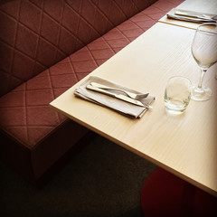 Table and bench in a restaurant