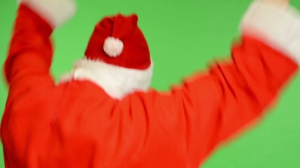 green screen - santa claus standing back and rejoices
