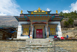 Buddhist temple in Upper Pisang on a Annapurna Circuit, Nepal poster