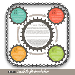 Elements of infographics bicycle sprocket, timeline.
