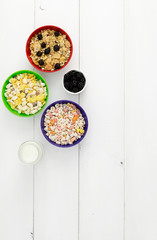Three bowls of cereals
